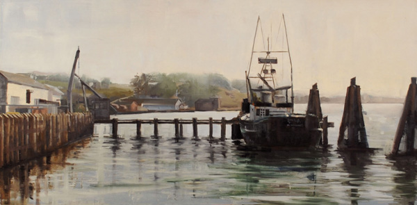 Jackson Lain, Docked, oil, 24 x 48.