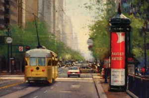 Douglas Morgan, Stoplight, oil painting