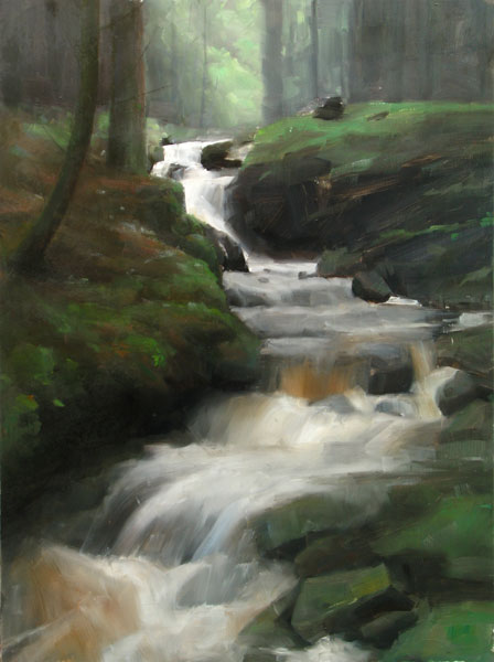 Dave Santillanes, Down to the River Ardle, oil, 30 x 20.