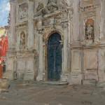Curt Walters, Façade of San Stae, oil, 14 x 14.