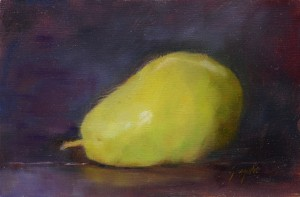 Ann Gargotto, Green Pear, oil, 8 x 12.
