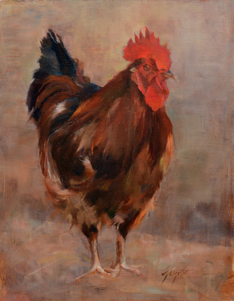 Ann Gargotto, Red Rooster, oil, 14 x 11.