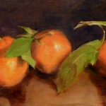 Ann Gargotto, Three Tangerines, oil, 9 x 18.