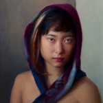 Joseph Dolderer, Girl in a Purple Scarf, oil, 20 x 16.