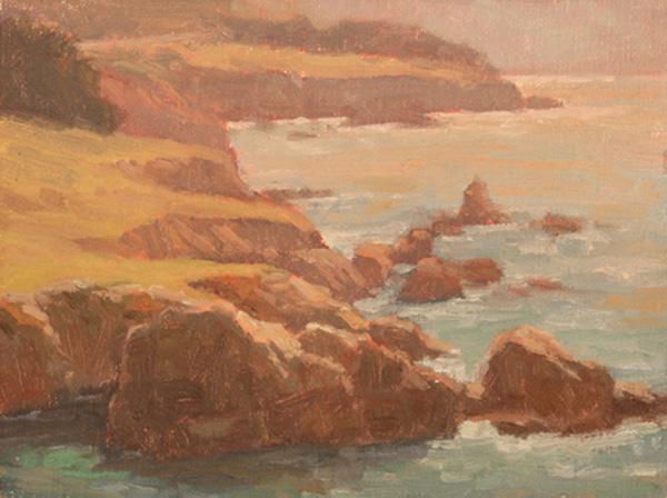 Debra Joy Groesser, Morning Glow Rocky Point, oil, 6 x 8.