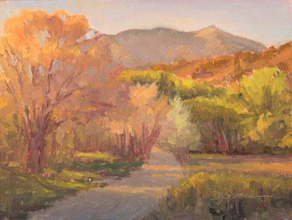 Debra Joy Groesser, Streaming Light, oil, 6 x 8.