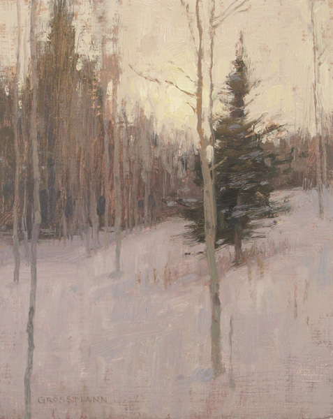 David Grossmann, Late Sky on a Winter Day, oil, 10 x 8.