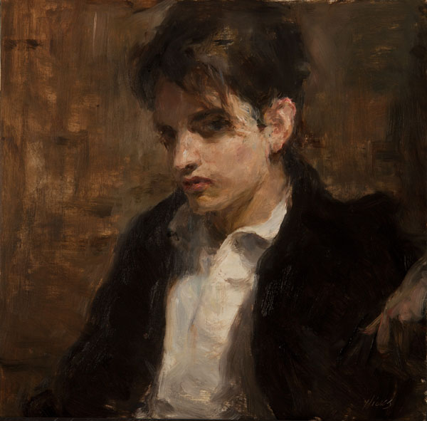 Ron Hicks, The Bazaar Contemplator, oil, 16 x 16.