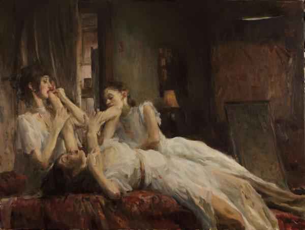 Ron Hicks, The Seduction II, oil, 36 x 48.