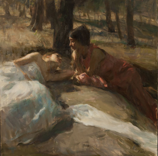 Ron Hicks, Twilight Conversation, oil, 30 x 30.