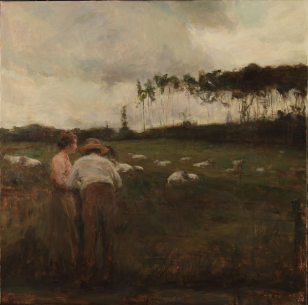 Ron Hicks, Watching the Charolais, oil, 30 x 30.