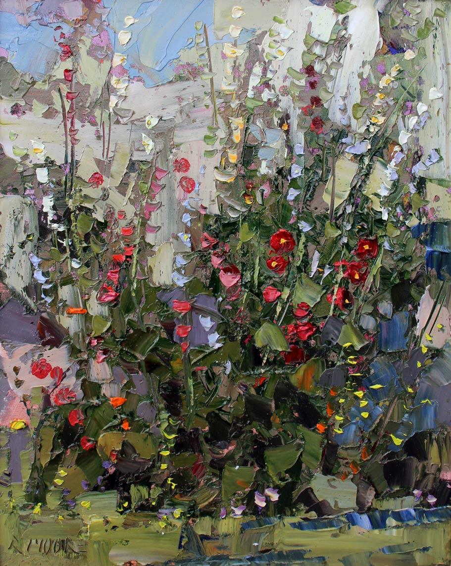 Robert Moore | Hollyhock, oil, 20 x 16.