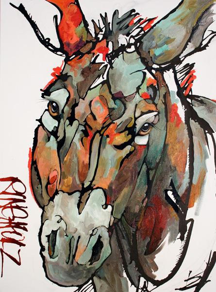 Amy Ringholz, Honey, ink/oil, 40 x 30.