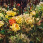 Daniel Keys, Hydrangeas & Roses, Montana, oil, 20 x 30.