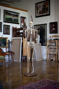Skeleton in art studio in Pomona, CA.