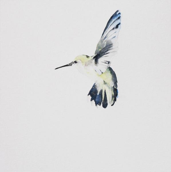September Vhay, Joy 4, watercolor, 9 x 9.