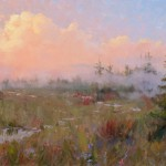 Becky Joy, Sunrise Mist, oil, 20 x 40.