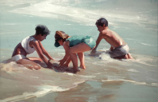 Robert Lemler | Kids at the Beach, oil, 24 x 30.