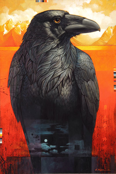 The Raven of Jackson Lake, oil, 48 x 32.