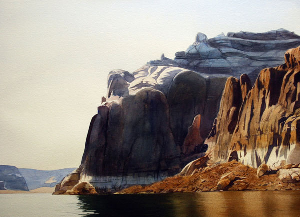 Lake Powell Cliffs, watercolor, 22 x 30.