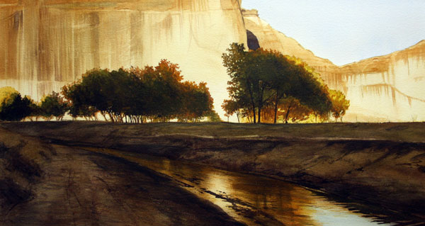 Late Afternoon, Canyon De Chelly, watercolor, 16 x 30.
