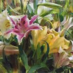 Daniel Keys, Mixed Lilies, oil, 12 x 20.