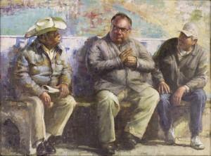 Miguel Malagon, Los Compadres, oil, 24 x 32.