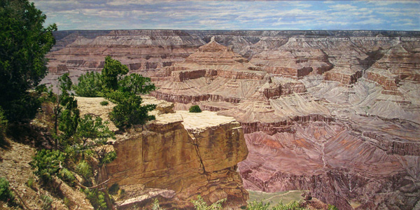 Marlin Adams, Zoroaster's Temple, Grand Canyon , oil, 48 x 96.