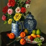 Marlin Adams, Zinnias, oil, 30 x 24.