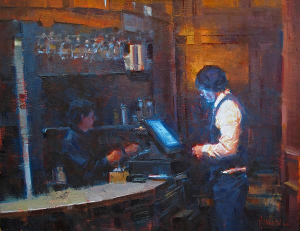 Jennifer McChristian, Closing the Tab, oil, 24 x 18.