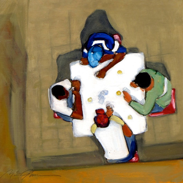 Peggy McGivern, Afternoon Break, mixed media, 12 x 12.