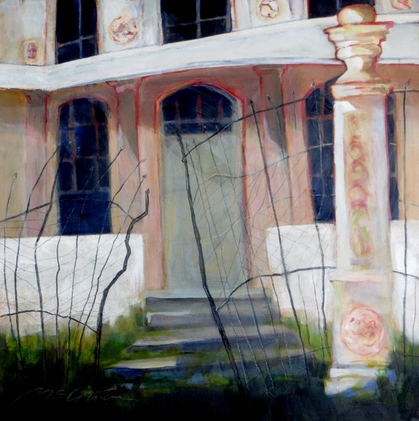 Peggy McGivern, Lost Grandeur, mixed media, 24 x 24.