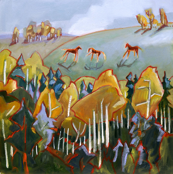 Peggy McGivern, Red Horses Playing, oil, 20 x 20.