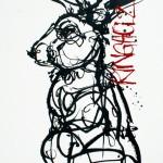 Amy Ringholz, Mechanical Rabbit, ink/oil, 48 x 36.