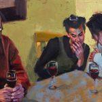 Michael Blessing, Three-Way Conversation, oil, 10 x 20.
