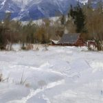 Daniel Keys, Montana Barns, oil, 6 x 10.
