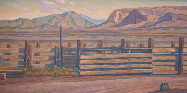 Howard Post, New Lumber at Rolph's Place, oil, 24 x 48.