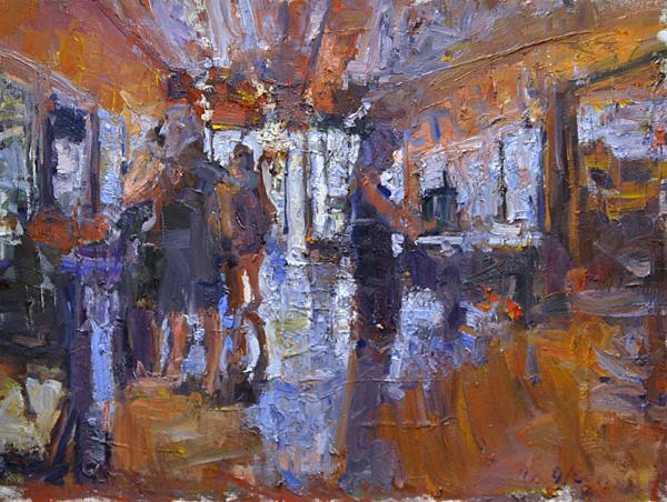 Mikael Olson, Saloon, oil, 18 x 24.