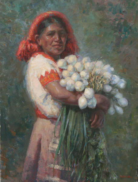 William J. Kalwick, Jr, Onion Sellers, oil, 24 x 18.