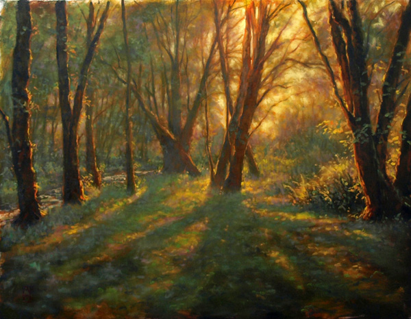 Michael Orwick, Morning Forest, oil, 30 x 40.