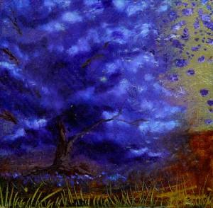 Tammi Otis, Study in Periwinkle, oil, 5x5.