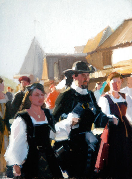 Robert Lemler   Parade, oil, 12 x 9.