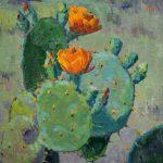 Noe Perez, Orange Cactus Flowers, oil, 12 x 12.