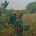 Noe Perez, Prickly Pear Blooms, oil, 36 x 40.