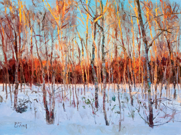 Peter Fiore, Last Light, Birch Grove, oil, 12 x 16.