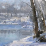 David Santillanes, Poudre Winter (study), oil, 9 x 12.