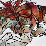 Amy Ringholz, Pounce, ink/oil, 48 x 72.