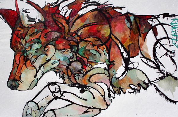 Amy Ringholz, Pounce, ink/oil, 48 x 72.