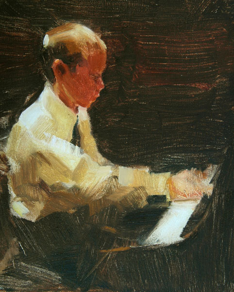 Robert Lemler | Recital, oil, 10 x 8.