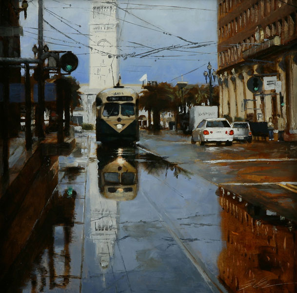 Reflected Ferry, oil, 12 x 12.